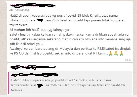 Pesan viral di WhatsApp mengenai pasien positif Covid-19 kabur dari RS. Ternyata Hoax.