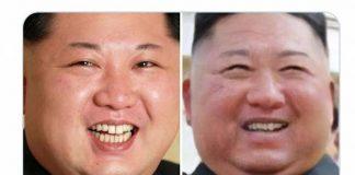 Kim Jong Un Asli (kiri) dan Kim Jong Un 1 Mei (diduga palsu)