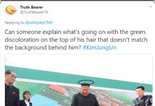 Netizen menilai ada perbedaan warna di atas kepala Kim Jong Un dengan latar belakangnya.