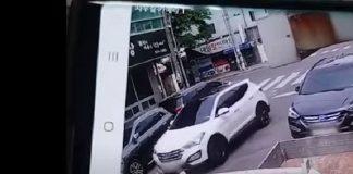 Seorang wanita mengendarai mobil menabrak anak laki-laki mengendarai sepeda di dekat zona sekolah di Gyeongju. Youtuvbe videograb @videomug