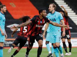 Pemain AFC Bournemouth Callum Wilson merayakan gol ke gawang Tottenham tetapi kemudian dianulir oleh VAR dalam pertandingan Liga Premier di Vitality Stadium, Kamis 9 Juli 2020 atau Jumat dinihari WIB. (Foto: Premierleague.com)