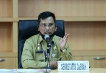 Sekretaris Daerah Provinsi Kepri TS Arif Fadillah mengikuti rapat koordinasi pembahasan lanjutan area labuh jangkar serta usulan dua lokasi baru labuh jangkar di Kepri, Kamis (9/07/2020)