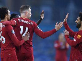 Kapten Jordan Henderson bersama rekan setim merayakan golnya ke gawang Brighton. (Foto: Premierleague.com)