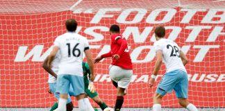Mason Greenwood melepas tembakan yang menyamakan skor menjadi 1-1 melawan West Ham United di Old Trafford. (Foto: Premierleague.com)