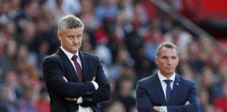 Manajer Manchester United Ole Gunnar Solskjaer dan manajer Leicester City Brendan Rodgers saat kedua tim bentrok di Old Trafford pada 14 September 2019. MU menang tipis 1-0 di laga itu, dimana gol tunggal dicetak oleh Marcus Rashford pada menit ke-8 melalui titik penalti.(Foto: Reuters via Sportsmole)