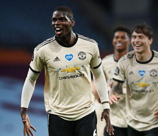 Paul Pogba mencetak gol ketiga Manchester United dalam kemenangan 3-0 atas tuan rumah Aston Villa. (Foto: Premierleague.com)