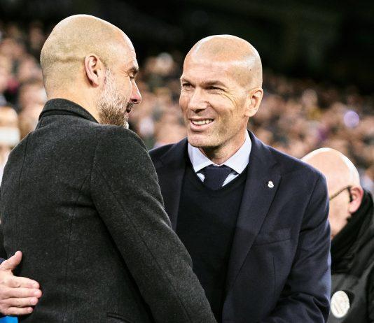 Pep Guardiola dan Zinedine Zidane. (Daily Mail)