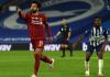 Selebrasi Mohamed Salah usai mencetak gol ke gawang Brighton. Salah mencatat sejrah sebagai pemain tercepat yang terlibat dalam 100 gol untuk Liverpool. (Foto: Premierleague.com)
