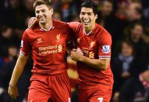 Steven Gerrard dan Luis Suarez saat masih bersama membela Liverpool.