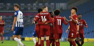 Para pemain Liverpool merayakan gol ke gawang Brighton. (Foto: Liverpoolfc.com)