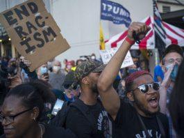 Para pengunjuk rasa mengikuti demonstrasi di Tulsa, Oklahoma, Amerika Serikat, pada 20 Juni 2020. AS (Foto oleh Alan Chin / Xinhua)
