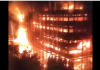 Penampakan Gedung Kejagung RI yang sedang dilalap api saat kebakaran pada sabtu (22/8/2020) malam, sekitar pukul 19:10 WIB. (Foto: screenshot video/twitter)
