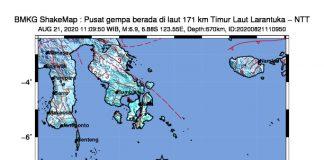 Gempa Bumi mengguncang Larantuka, Flores, Nusa Tenggara Timur (NTT). Getarannya terasa hingga Kota Kupang. (Grafis: BMKG)