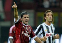"""Gennaro Gattuso (kiri) dan Andrea Pirlo saat masih aktif bermain. Gattuso """"si Badak"""" di sisi Milan dan Pirlo di Juve. Pirlo sendiri adalah mantan rekan Gattuso di Milan dan sama-sama pernah membela Timnas Italia. (Foto dari beinsports)"""