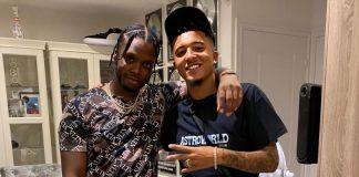Sancho menghadiri pesta rumah dengan rapper Krept dan Konan yang kebetulan adalah pendukung Manchester United.(Foto dari MEN Sport)
