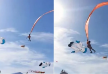 Gadis berusia tiga tahun melayang di udara bersama layang-layang raksasa. Dia terbelit tali layang-layang saat menghadiri festival di Nanliao pada 30 Agustus 2020. (Gambar: Screengrabs dari video Facebook / viasblog.tw via CNA)
