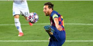 Aksi Lionel Messi saat mencetak gol ke gawang Napoli. (Foto: Uefa.com)