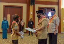 Arif Fadillah saat menjadi Pimpinan Upacara Hari Pramuka ke-59 di Aula Wan Seri Beni Dompak, Tanjungpinang, Selasa (25/08/2020).