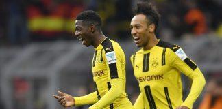 Ousmane Dembele dan Pierre-Emerick Aubameyang saat masih bersama membela Borussia Dortmund. (Foto dari The42)