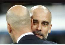 Pep Guardiola dan Zinedine Zidane (mmbelakangi lensa). Foto dari AS