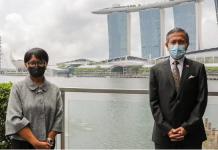 Menteri Luar Negeri Dr Vivian Balakrishnan dan Menteri Luar Negeri Retno Marsudi saat makan siang di Singapura pada 25 Agustus 2020. (Foto: Kementerian Luar Negeri Singapura)