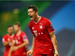 Reaksi Robert Lewandowki usai membobol gawang Lyon, menjadikan Bayern unggul 3-0 pada semifinal Liga Champions 2019/2020, yang berlangsung di Stadion José Alvalade -Lisbon, Portugal, Rabu (19/8/2020) atau Kamis dinihari waktu Indonesia. (Foto: Uefa.com)