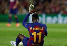 Ousmane Dembele, penyerang sayap Barcelona yang menjadi bidikan Manchester United sebagai alternatif JadonSancho. (Foto dari Sportsmole)