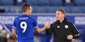 Brendan Rodgers dan striker Leicester City Jamie Vardy. (Foto: Premierleague.com)