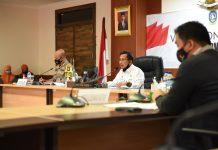 Sekda Prov Kepri, Arif Fadillah membuka Rapat Pengarahan Help Desk Pilkada Penyelenggaraan Kampanye Tahun 2020 di Rupatama Lt.4, kantor Gubernur, Dompak, Tanjungpinang, Kamis (17/09/2020)
