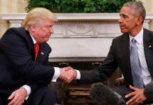 Presiden AS Donald Trump dan mantan presiden Barack Obama. (Foto dari business insider)