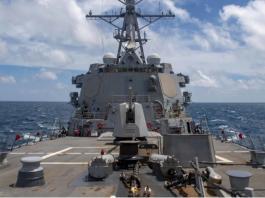Kapal perusak berpeluru kendali kelas Arleigh Burke USS Mustin melakukan operasi rutin di Laut China Timur pada bulan Agustus. (Foto handout Angkatan Laut AS via SCMP)