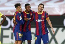 Coutinho, Ansu Fati, dan Messi. (Foto; fcbarcelona.com)