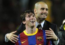 Lionel Messi dan Pep Guardiola saat masih sama-sama membela panji Barcelona. (Foto dari talkSPORT)