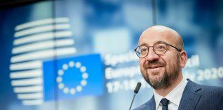 Presiden Dewan Eropa Charles Michel menghadiri konferensi pers setelah KTT Uni Eropa khusus di Brussels, Belgia, 21 Juli 2020. (Uni Eropa /Handout via Xinhua)
