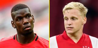 Paul Pogba (kiri) dan Donny Van de Beek akan bermain bersama di Manchester United. Pengamat menepis isu Pogba akan pergi atau kedatangan Van de Beek sebagai antisipasi kepergian Pogba. (Foto dari talkSPORT)
