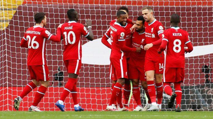 Para pemain Liverpool merayakan gol pertama yang dicetak Mohamed Salah melalui titik penalti. (Foto: Premierleague.com)
