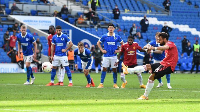Penalti gelandang MU Bruno Fernandes memberikan kemenangan 3-2 atas Brighton di Amex Stadium, , Sabtu (26/9/2020). Penalti masih diberikan wasit kendati peluit akhir telah dibunyikan. (Foto: Premierleague.com)