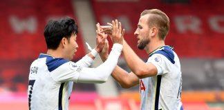 Son Heung-min (kiri) dan Harry Kane merayakan gol ke gawang Southampton. Keduanya kina menjadi rekan sehati di lini depan Spurs. (Foto: Premierleague.com)