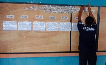 PPS Kelurahan Tanjung Permai mengumumkan DPS di Papan Informasi Kelurahan, Kecamatan Seri Kuala Lobam, Bintan, Kepri (Suryakepri.com/ist)