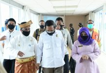 Sekretaris Daerah Provinsi Kepulauan Riau Arif Fadillah menjemput beberapa Menteri Kabinet Indonesia Maju serta beberapa pimpinan lembaga Negara di VIP Bandara Internasional Raja Haji Fisabillah Tanjungpinang, Kamis (24/09/2020)