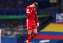 Kapten Liverpool Jordan Hendrson kesal golnya dianulir oleh VAR saat melawan Everton di Goodison Park, Sabtu (17/10/2020). (Foto: Premierleague.com)