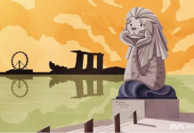 Ilustrasi Patung Singa Merlion di Singapura digambarkan sedang bertopang dagu karena sedih menyusul ambruknya sektor pariwisata akibat hantaman pandemi Covid-19. (Illustration: Anam Musta'ein/TODAY via CNA)