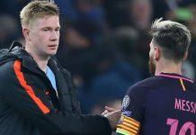 Kevin De Bruyne dan Lionel Messi. (Foto dari Sky Sports)
