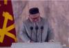 Pemimpin Korea Utara Kim Jong Un minta maaf sambil menangis dalam pidatonya saat acara parade militer yang menandai 75 tahun berdirinya Partai Pekerja Korea (Wpk) pada 12 Oktober 2020. (Foto: KRT TV /REUTERS via CNA)