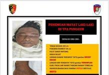 Postingan Polsek Batu Aji Batam mengenai ciri-ciri mayat pria bertatto Mickey Mouse yang dtemukan di TPA Telaga Punggur, Kota Batam, Kepulauan Riau. (Foto: facebook Polsek Batu Aji)