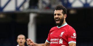 Reaksi Mohammed Salah setelah mencetak gol ke gawang Everton pada laga derby di Goodison Park, Sabtu (17/10/2020). Itu adalah golnya yang ke-100 untuk Liverpool. (Foto: Premierleague.com)