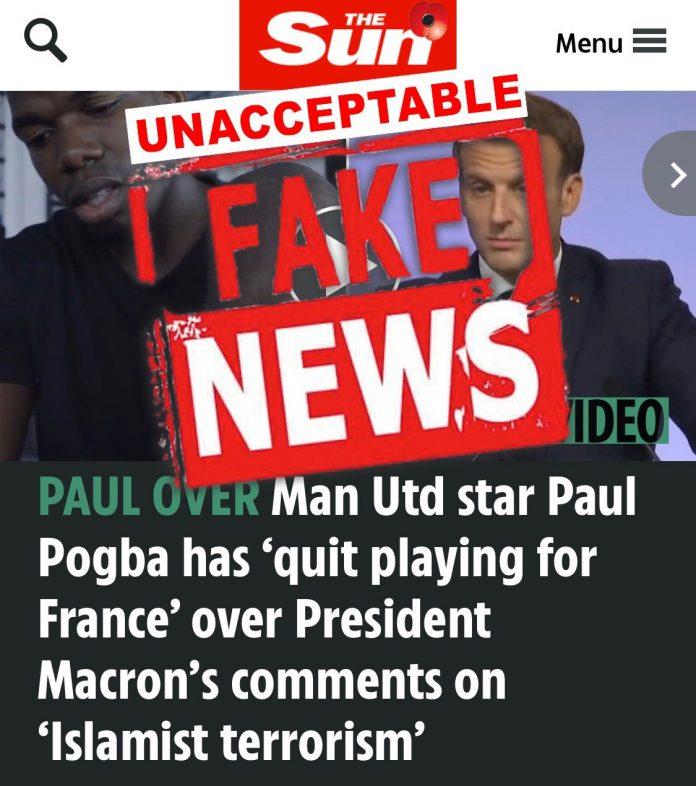 Berita hoax Paul Pogba tinggalkan Timnas Prancis karena merasa agamanya dihina oleh Presiden Prancis Emmanuel Macron. (Foto: Twitter Paul Pogba)