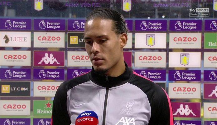 Bek Liverpool Virgil van Dijk berbicara kepada Sky Sports usai Liverpool takluk 2-7 dari Aston Villa di Villa Park, Senin (5/10/2020). (Foto: Sky Sports)