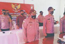 Kapolres Bintan AKBP Bambang Sugihartono bersama pejabat utamanya saat mengikuti upacara Peringatan Hari Kesaktian Pancasila (Suryakepri.com)