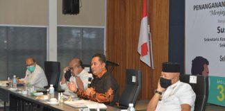 Foto ; Pjs Gubernur ,Pjs. Walikota Batam H. Syamsul Bahrum dan Plh BP Batam Purwiyanto. Selasa (6/10) di Hotel Radisson, Batam